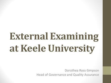 External Examining at Keele University