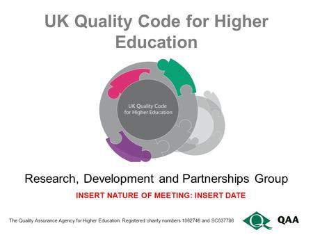 UK Quality Code for Higher Education The Quality Assurance Agency for Higher Education. Registered charity numbers 1062746 and SC037786 Research, Development.