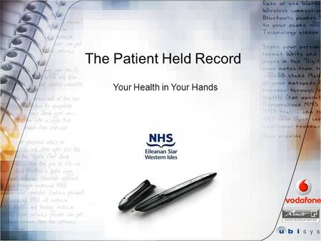 The Patient Held Record Your Health in Your Hands.