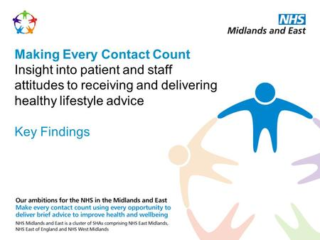 Making Every Contact Count Insight into patient and staff attitudes to receiving and delivering healthy lifestyle advice Key Findings.