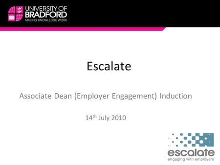 Escalate Associate Dean (Employer Engagement) Induction 14 th July 2010.