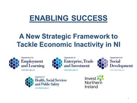ENABLING SUCCESS A New Strategic Framework to Tackle Economic Inactivity in NI 1.