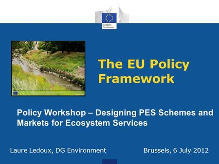The EU Policy Framework Policy Workshop – Designing PES Schemes and Markets for Ecosystem Services Laure Ledoux, DG Environment Brussels, 6 July 2012.