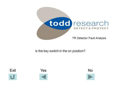 Is the key switch in the on position? TR Detector Fault Analysis Yes NoExit.