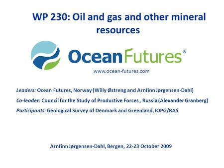 WP 230: Oil and gas and other mineral resources Leaders: Ocean Futures, Norway (Willy Østreng and Arnfinn Jørgensen-Dahl) Co-leader: Council for the Study.