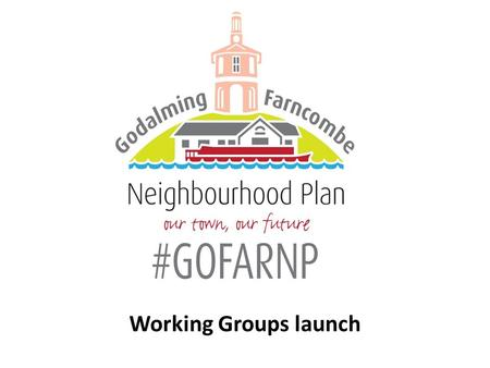 Working Groups launch. Today What a Working Group is How they will operate What work they need to do Finalise the Working Groups Get you to sign up and.