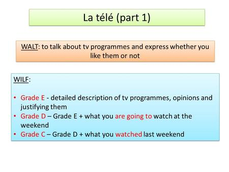 La télé (part 1) WALT: to talk about tv programmes and express whether you like them or not WILF: Grade E - detailed description of tv programmes, opinions.