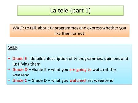 La tele (part 1) WALT: to talk about tv programmes and express whether you like them or not WILF: Grade E - detailed description of tv programmes, opinions.