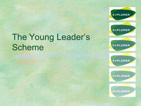 The Young Leader's Scheme. YL Unit §District has a responsibility to set up a YL Unit l can be shared with another District (s) §Led by ESL(YL) §Different.