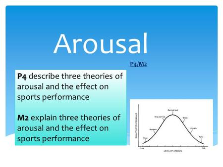 Arousal P4/M2 P4 describe three theories of arousal and the effect on sports performance M2 explain three theories of arousal and the effect on sports.