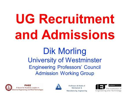 Professors & Heads of Mechanical & Manufacturing Engineering UG Recruitment and Admissions Dik Morling University of Westminster Engineering Professors'