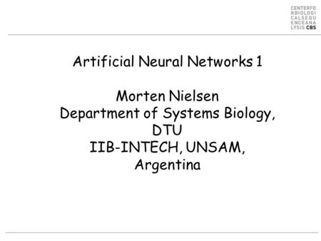 Artificial Neural Networks 1 Morten Nielsen Department of Systems Biology, DTU IIB-INTECH, UNSAM, Argentina.