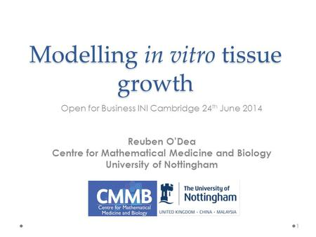 Modelling in vitro tissue growth Open for Business INI Cambridge 24 th June 2014 1 Reuben O'Dea Centre for Mathematical Medicine and Biology University.