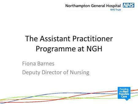 The Assistant Practitioner Programme at NGH Fiona Barnes Deputy Director of Nursing.