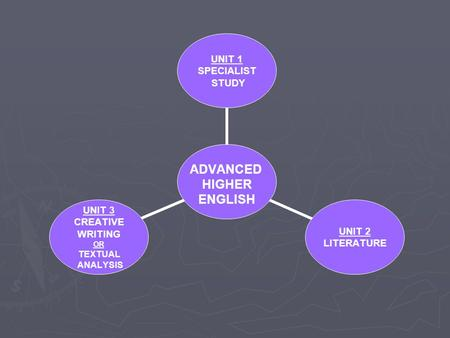 ADVANCED HIGHER ENGLISH UNIT 1 SPECIALIST STUDY UNIT 2 LITERATURE UNIT 3 CREATIVE WRITING OR TEXTUAL ANALYSIS.