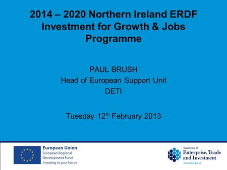 2014 – 2020 Northern Ireland ERDF Investment for Growth & Jobs Programme PAUL BRUSH Head of European Support Unit DETI Tuesday 12 th February 2013.