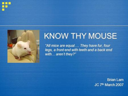 "KNOW THY MOUSE ""All mice are equal…. They have fur, four legs, a front end with teeth and a back end with… aren't they?"" Brian Lam JC 7 th March 2007 Brian."