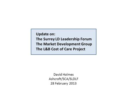 Update on: The Surrey LD Leadership Forum The Market Development Group The L&B Cost of Care Project David Holmes Ashcroft/SCA/SLDLF 28 February 2013.