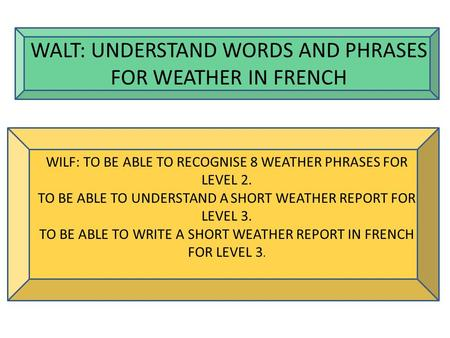 WALT: UNDERSTAND WORDS AND PHRASES FOR WEATHER IN FRENCH WILF: TO BE ABLE TO RECOGNISE 8 WEATHER PHRASES FOR LEVEL 2. TO BE ABLE TO UNDERSTAND A SHORT.
