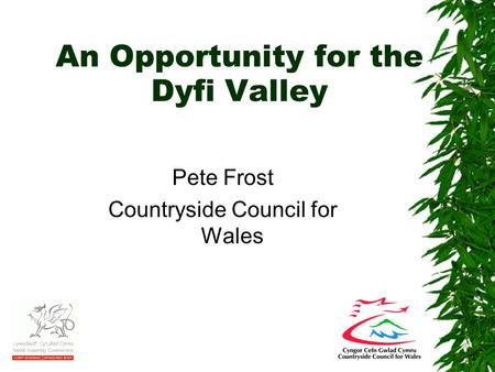 An Opportunity for the Dyfi Valley Pete Frost Countryside Council for Wales.