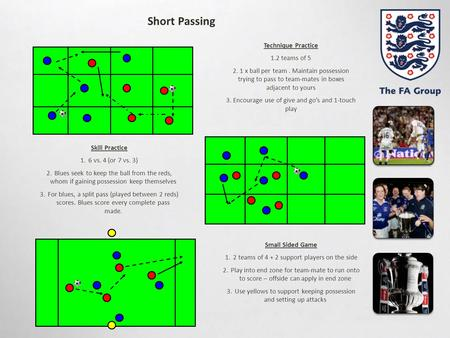 Short Passing Skill Practice 1.6 vs. 4 (or 7 vs. 3) 2.Blues seek to keep the ball from the reds, whom if gaining possession keep themselves 3.For blues,