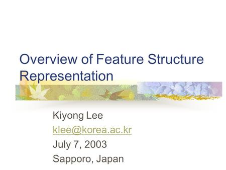 Overview of Feature Structure Representation Kiyong Lee July 7, 2003 Sapporo, Japan.