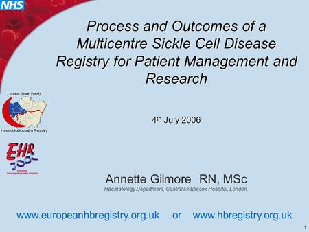1 Process and Outcomes of a Multicentre Sickle Cell Disease Registry for Patient Management and Research 4 th July 2006 Annette Gilmore RN, MSc Haematology.