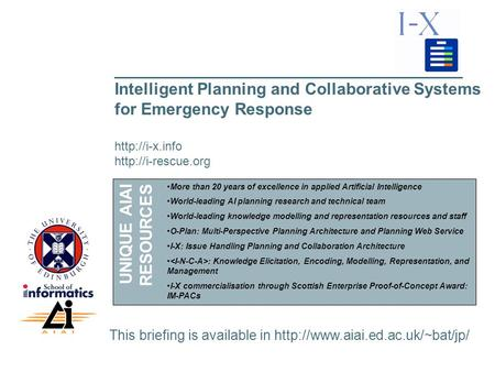 ___________________________________________________ Intelligent Planning and Collaborative Systems for Emergency Response