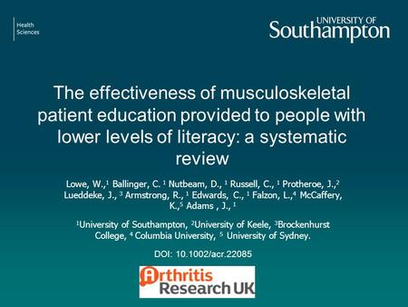 The effectiveness of musculoskeletal patient education provided to people with lower levels of literacy: a systematic review Lowe, W., 1 Ballinger, C.