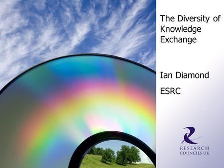The Diversity of Knowledge Exchange Ian Diamond ESRC.