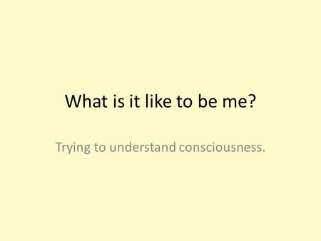 What is it like to be me? Trying to understand consciousness.