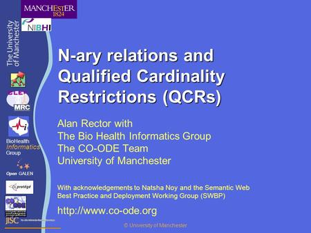 N-ary relations and Qualified Cardinality Restrictions (QCRs) Alan Rector with The Bio Health Informatics Group The CO-ODE Team University of Manchester.