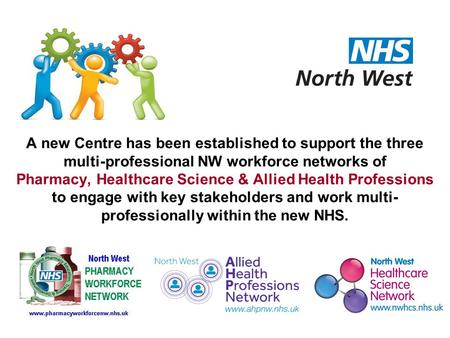 A new Centre has been established to support the three multi-professional NW workforce networks of Pharmacy, Healthcare Science & Allied Health Professions.