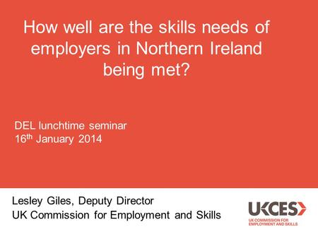 How well are the skills needs of employers in Northern Ireland being met? Lesley Giles, Deputy Director UK Commission for Employment and Skills DEL lunchtime.