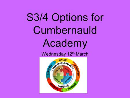 S3/4 Options for Cumbernauld Academy Wednesday 12 th March.