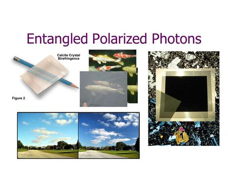 Entangled Polarized Photons. Crystals can produce pairs of photons, heading in different directions. These pairs always show the same polarization. ?