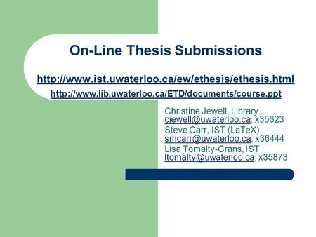 On-Line Thesis Submissions