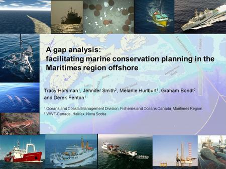 A gap analysis: facilitating marine conservation planning in the Maritimes region offshore Tracy Horsman 1, Jennifer Smith 2, Melanie Hurlburt 1, Graham.