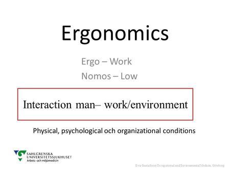 Ergonomics & Workplace Psychology
