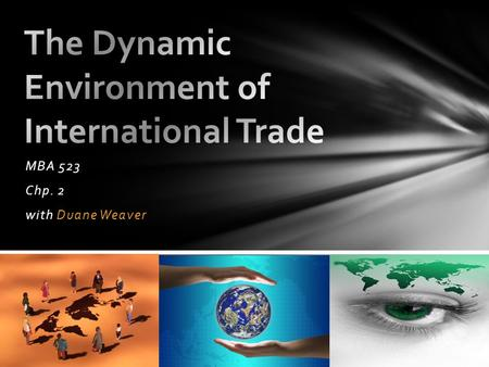 MBA 523 Chp. 2 with Duane Weaver. 20 th -21 st Century – Marketer's Global Perspective Balance of Payments Protectionism Easing Trade Restrictions International.