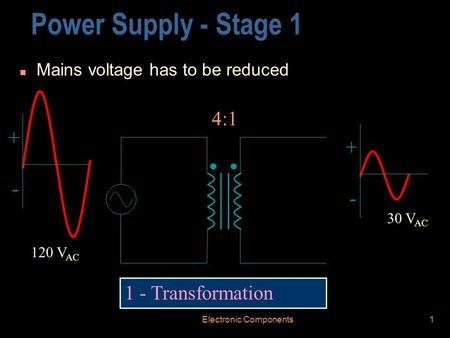 Electronic Components1 Power Supply - Stage 1 n Mains voltage has to be reduced 1 - Transformation + - + - 120 V AC 30 V AC 4:1.