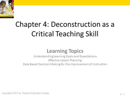 Chapter 4: Deconstruction as a Critical Teaching Skill Learning Topics Understanding Learning Goals and Expectations Effective Lesson Planning Data Based.