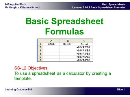 20S Applied Math Mr. Knight – Killarney School Slide 1 Unit: Spreadsheets Lesson: SS-L2 Basic Spreadsheet Formulas Basic Spreadsheet Formulas Learning.