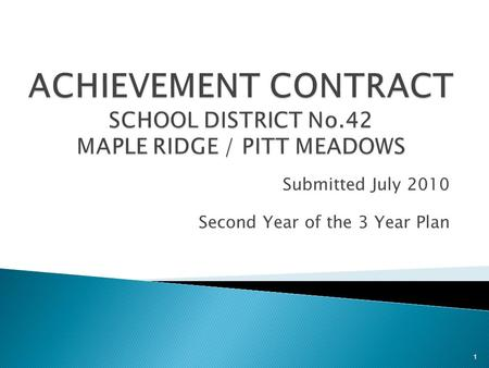 Submitted July 2010 Second Year of the 3 Year Plan 1.