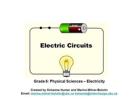 Grade 6: Physical Sciences – Electricity