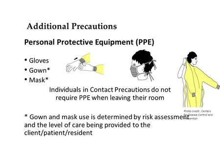 Additional Precautions Personal Protective Equipment (PPE) Gloves Gown* Mask* Individuals in Contact Precautions do not require PPE when leaving their.