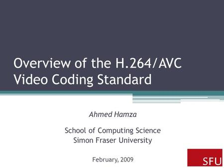 Overview of the H.264/AVC Video Coding Standard