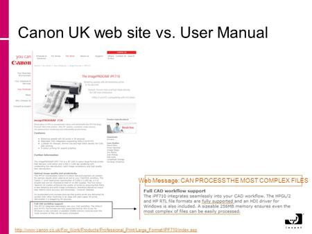 Canon UK web site vs. User Manual  Web Message: CAN PROCESS THE.