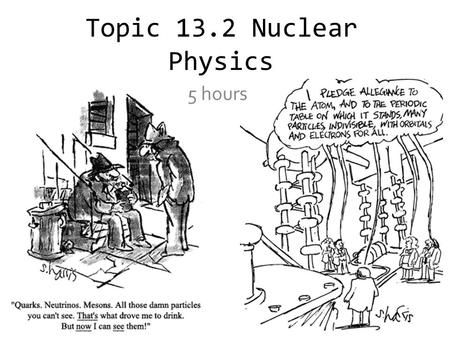 Topic 13.2 Nuclear Physics 5 hours. Estimating the Radii of Nuclei Consider an α-particle that is on a direct collision course with a gold nucleus and.