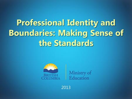 Professional Identity and Boundaries: Making Sense of the Standards 2013.